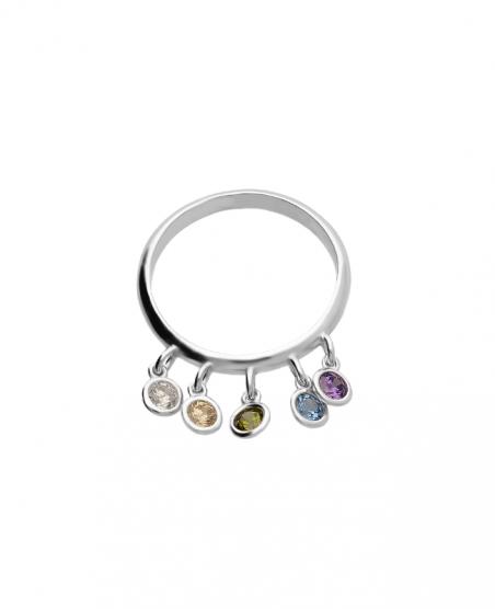 Pierścionek srebrny z kolorowymi cyrkoniami