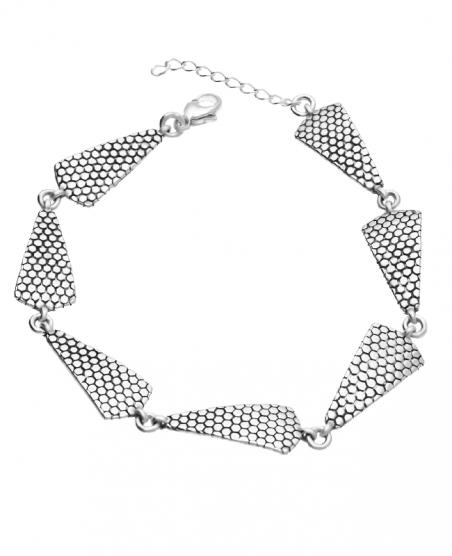 Bransoletka srebrna trójkąty