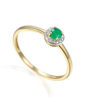 Pierścionek złoty z diamentami  i szmaragdem
