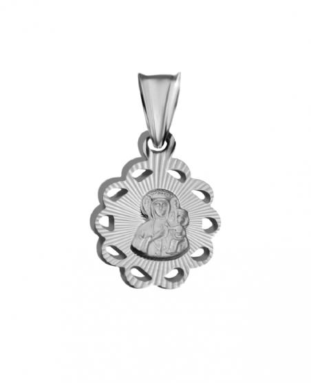 Medalik srebrny z Matką Boską Częstochowską