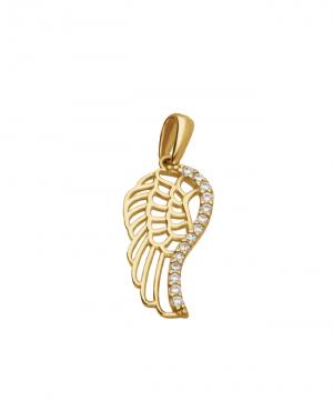 Wisiorek złoty skrzydło z cyrkoniami
